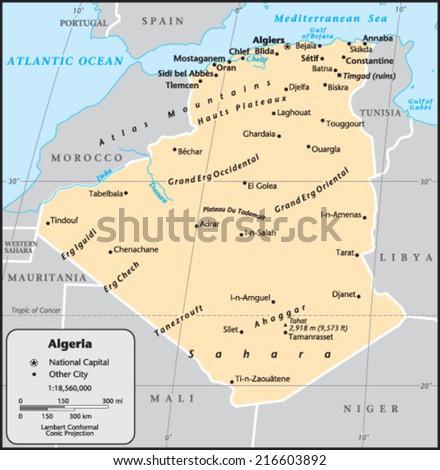 Algeria Country Map - stock vector