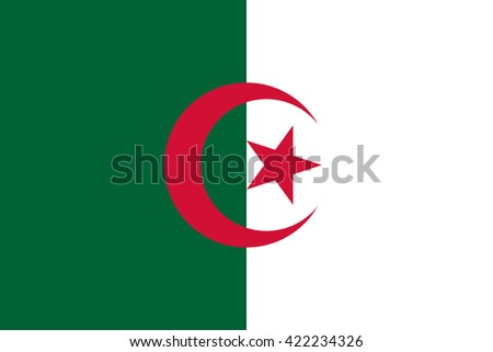 Algeria flag, official colors and proportion correctly. National Algeria flag. Algeria flag vector. Algeria flag correct. Algeria flag drawing. Algeria flag JPG. Algeria flag JPEG. Algeria flag EPS. - stock vector