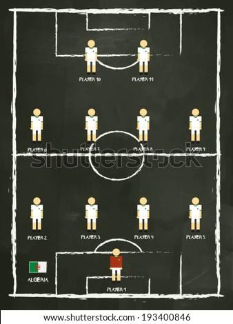Algeria football club formation on blackboard, vector design. - stock vector