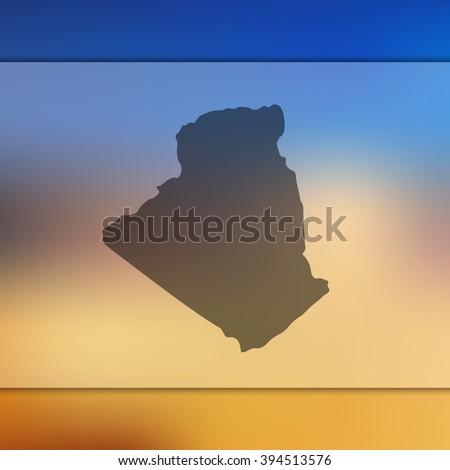 Algeria map on blurred background. Blurred background with silhouette of Algeria. Algeria. Algeria map. Blurred background. Silhouette of Algeria. Algeria vector map. Vector map. Blurred Algeria map. - stock vector