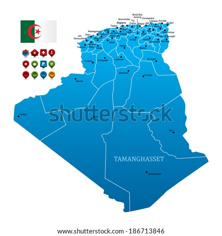 Algeria Map with Flag and navigation icons - stock vector