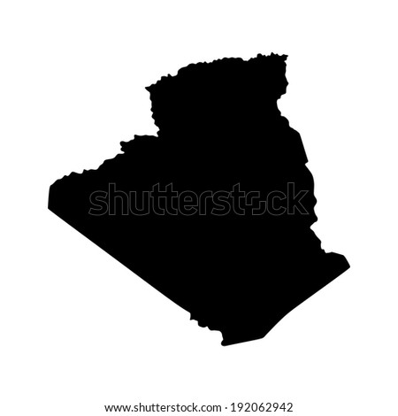 Algeria vector map isolated on white background. High detailed silhouette illustration.  - stock vector