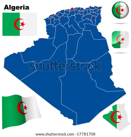 Algeria vector set. Detailed country shape with region borders, flags and icons isolated on white background. - stock vector