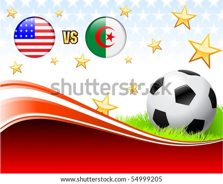 Algeria versus United States on Abstract Red Background with Stars Original Illustration - stock vector