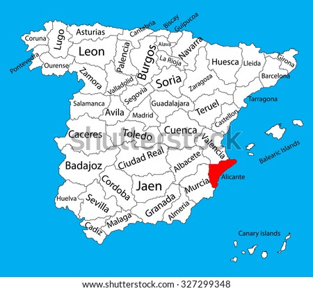 Alicante Map Spain Province Vector Map Stock Vector 327299348