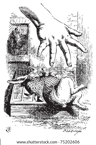 Alice in Wonderland. Alice stretches her hand and tries to grab the White Rabbit. Alice's Adventures in Wonderland. Illustration from John Tenniel, published in 1865. - stock vector