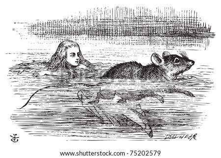Alice in Wonderland. Alice swimming near a mouse. Miniature Alice is swimming the pool when she encounter a mouse.Alice's Adventures in Wonderland. Illustration from John Tenniel, published in 1865. - stock vector