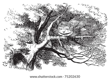 Alice in Wonderland. Cheshire Cat fading to smile. The cat vanished quite slowly, beginning with the end of the tail, and ending with the grin, which remained some time after the rest of it had gone. - stock vector