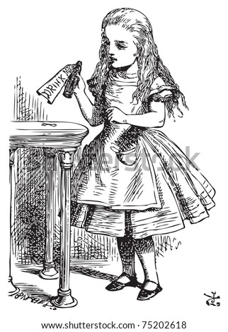 Alice in Wonderland. Drink me. Alice is picking up a small bottle on the table, which has a label that you can read Drink Me.Alice's Adventures in Wonderland. Illustration from John Tenniel - stock vector