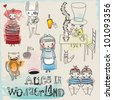Alice in Wonderland - hand drawn characters and icons illustrating Lewis Carroll's famous children novel - stock photo