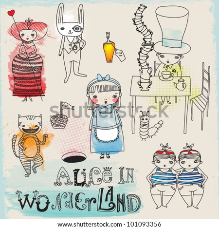 Alice in Wonderland - hand drawn characters and icons illustrating Lewis Carroll's famous children novel - stock vector