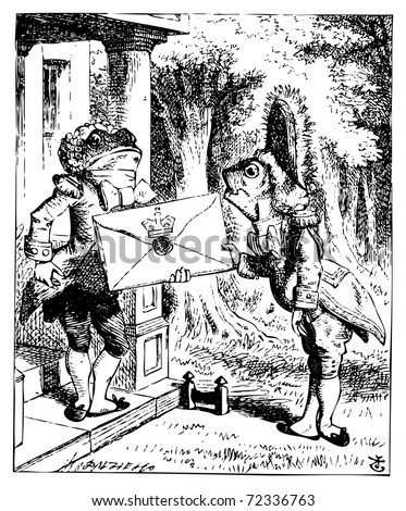 Alice in Wonderland.Servant Fish and Frog holding a royal letter: Alice's Adventures in Wonderland. Illustration from John Tenniel, published in 1865. - stock vector