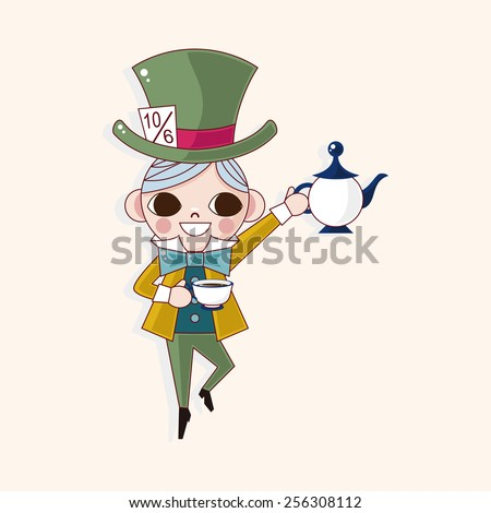 alice in wonderland theme elements - stock vector