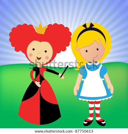 Alice in wonderland with a green background and the queen of hearts