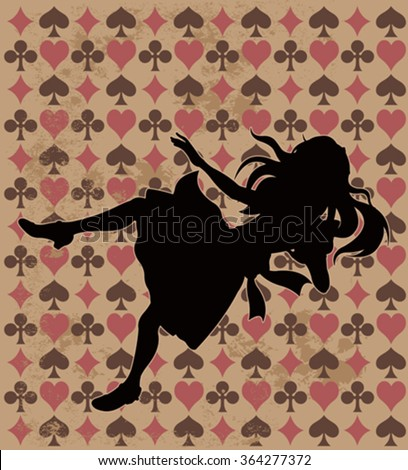 Alice silhouette on wonderland play card background - stock vector