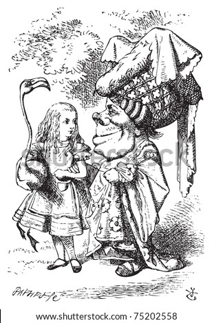 Alice (with flamingo) chat with the Duchess - Alice in Wonderland vintage engraving. Alice is holding a flamingo under her arm as she speaks with the Duchess, who wears a large hat and a flowery dress - stock vector