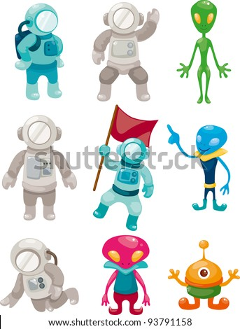alien and astronaut icons - stock vector
