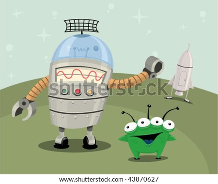 Alien and robot on a planet with a ship. - stock vector