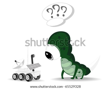 alien and rover. vector illustration - stock vector