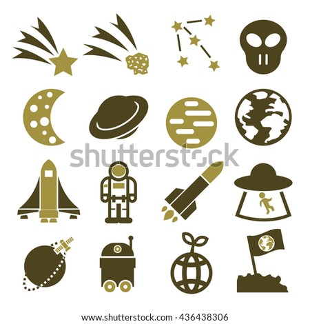 alien and ufo icon set