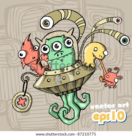 alien beings - stock vector