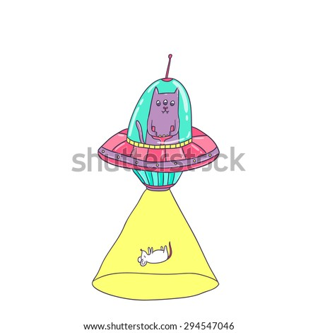 Alien cat in the ufo saucer steals Mouse. Vector funny animals clip art. - stock vector