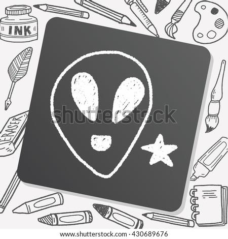 alien doodle drawing - stock vector
