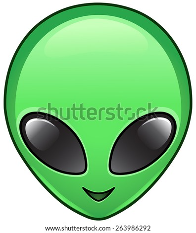 Alien face icon - stock vector