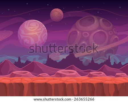 Alien fantastic landscape, seamless space background, separated layers for game design. - stock vector