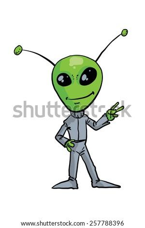 Alien - green man - in a gray suit. Vector illustration - stock vector