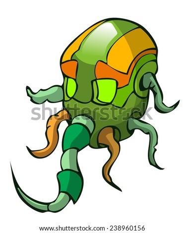 Alien Head, Vector Illustration isolated on White Background.  - stock vector