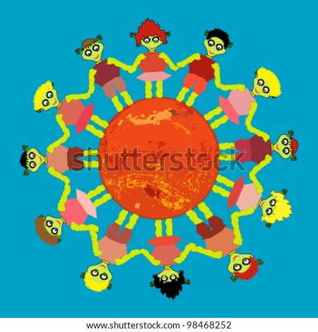 Alien Kids Round Dance On Mars Stock Vector 98468252 Shutterstock