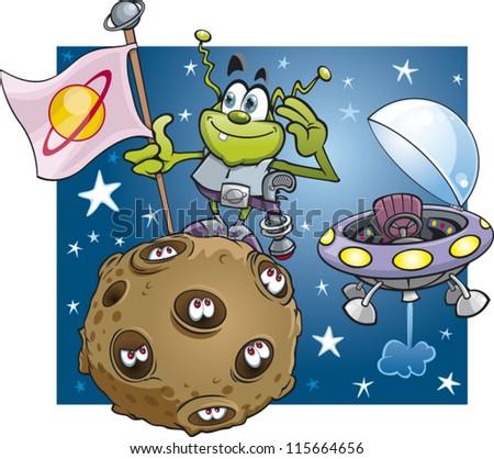 Alien landing on a planet - stock vector