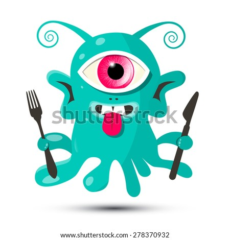 Alien - Monster or Bacillus Vector Illustration with Fork and Knife Isolated on White Background - stock vector