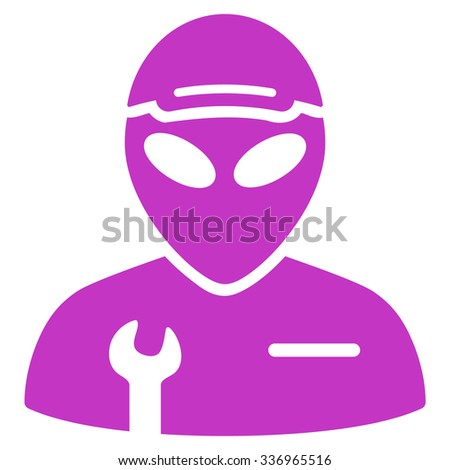 Alien Serviceman vector icon. Style is flat violet symbol, rounded angles, white background.