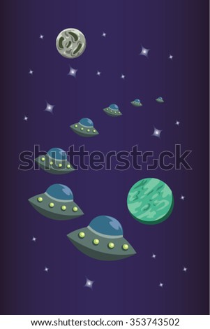 Alien ships in Outer Space with Planets and Stars Cartoon Vector - stock vector