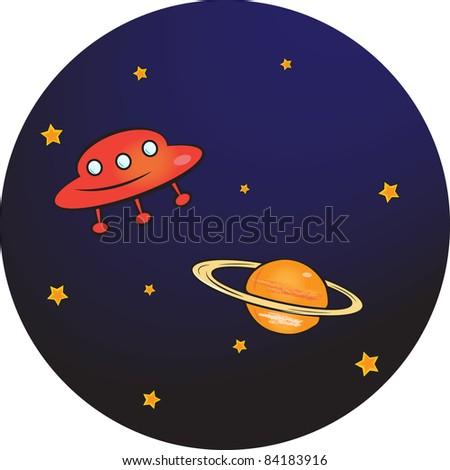 alien space ship - stock vector