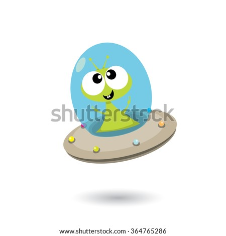 alien spaceship isolated on white . ufo. green alien in space vector. flying saucer