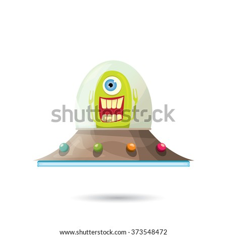 alien spaceship isolated on white . ufo. green alien in space vector. flying saucer - stock vector