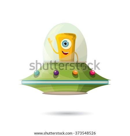 alien spaceship isolated on white . ufo. orange alien in space vector. flying saucer - stock vector