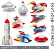 Alien vehicles vector illustrations - stock photo