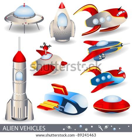 Alien vehicles vector illustrations - stock vector