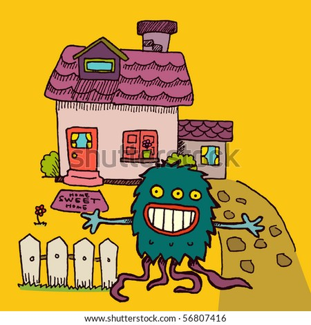 Alien welcomes you to his house. - stock vector