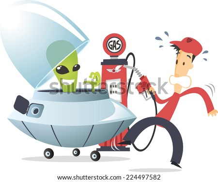 Alien with flying saucer on a gas station - stock vector