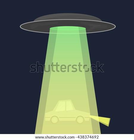 Aliens abduct car. Alien spaceship. Vector Illustration. - stock vector