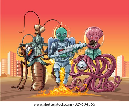 Aliens invaders from outer space captured the city and offer to surrender now! - stock vector