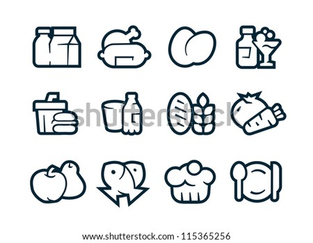 Aliments Icons - stock vector