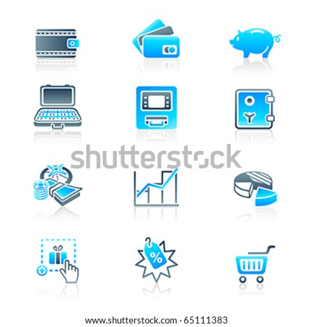All about earning, saving and spending money icon-set - stock vector