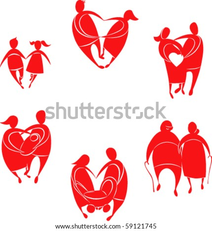 all ages love. Silhouettes of six pairs of lovers in the form of heart - stock vector