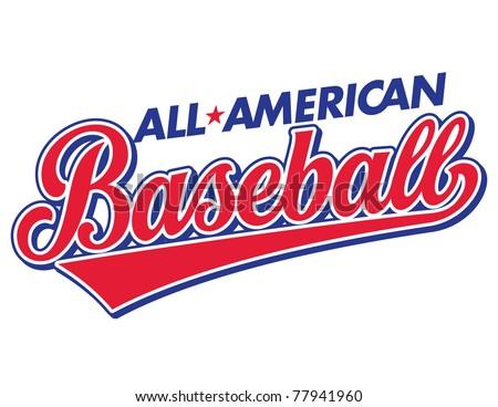 All-American Baseball Vector Lettering - stock vector
